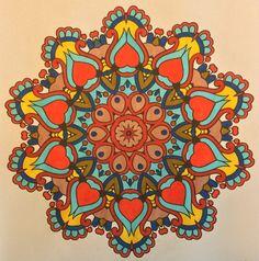 A mandala from Mood Enhancing Mandalas, Vol. 1. Colored by B. Holmes using Kuritake Zig Clean Color Real Brush (red, carmine red, light blue, Persian blue, blush, ochre, yellow), 11-2017. #mymasterpiece #moodenhancingmandala #mandala