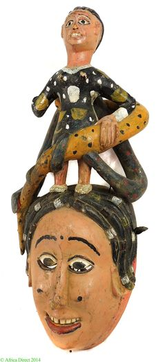 Ibibio Mask Pink Smiling Face Female and Snakes Nigeria African - Ibibio - African Masks
