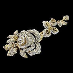 Large Shimmering Crystal GOLD ROSE Brooch by allysonjames on Etsy