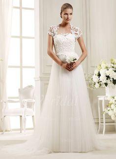 Wedding Dresses - $188.17 - A-Line/Princess Sweetheart Sweep Train Tulle Lace Wedding Dress (0025104717)