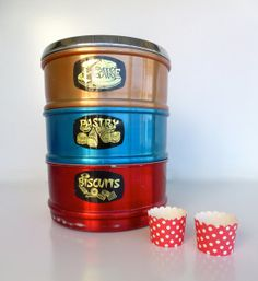 Vintage Cake Pastry and Biscuits Tin by TeddyandTottie on Etsy, $60.00