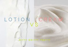 Product glossary: Defining beauty products by their properties and purpose: The difference between a lotion and a cream is the amount of oil the product contains. Creams tend to be more oil-rich, and therefore thicker. They also tend to feel heavier and tackier on the skin. Lotions have a higher water content and can often be poured out in a liquid-y form. This makes lotions lightweight and quickly absorbed by the skin. Creams are generally better for drier parts of the body like hands…