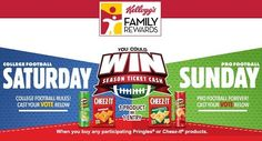 5 grand prizes! $10,000 cash to purchase of season tickets for their favorite sports team! More prizes below! Follow the entry instructions carefully!    Online/Phone:    Purchase any one Kellogg's Participating Product and then upload receipt or by...