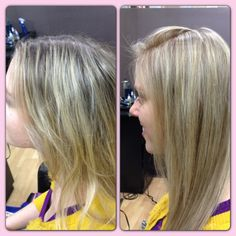 Before and after blonde hair