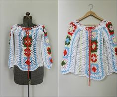 Vintage Crochet Sweater / 1960s Sweater Blouse / Boatneck Knit Sweater. $24.00, via Etsy.