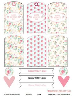 Floral Mother's day gift tags. Free printable pdf download for personal use. or papercrafts and other scrapbooking use.
