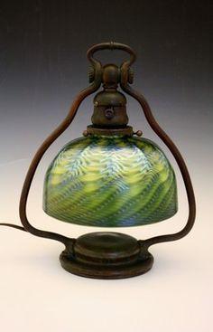 C1910 Tiffany Studios Bronze Harp Desk Lamp W/signed Damascene Shade.
