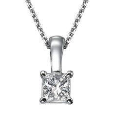 0.4 Carat Princess Cut D / VS2 Diamond Anniversary Pendant 14k White Gold