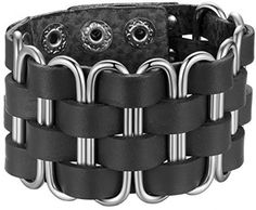 Men's Metallic Oval And Leather Cuff Bracelet, Ajustable, Snap Button, Black, #Unbranded