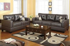 Modern Dark Brown Leather Sofa Couch Loveseat Living Room Set