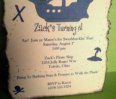 Pirate Party Invitations  Treasure Map  Set of by ScrapYourStory, $33.00