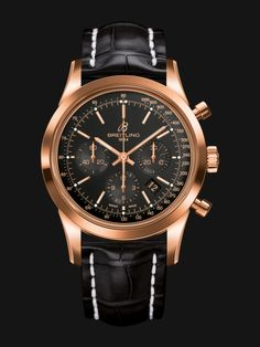 Transocean Chronograph watch by Breitling - rose gold case, black dial and black crocodile strap