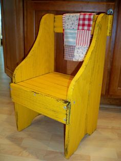 Mustard Yellow Primitive Farmhouse Style-wooden Bench Or Step Stool Made In Usa