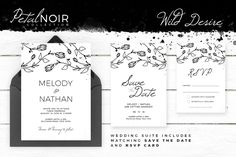 Petal Noir - Wild Desire by AM Studio on @creativemarket wedding invitation, along with matching 'Save The Date' and 'RSVP' card.