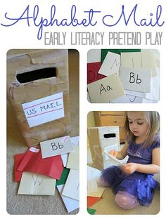 Alphabet mail - post office pretend play with letter recognition. Alphabet mail - post office pretend play with letter recognition. Preschool Literacy, Early Literacy, Literacy Activities, In Kindergarten, Preschool Activities, Literacy Skills, Alphabet Activities, Learning Letters, Preschool Alphabet