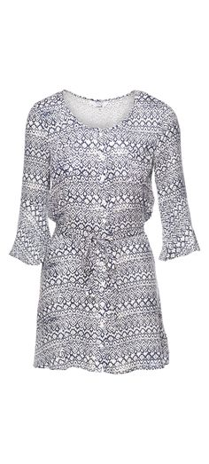 Jack Zaire Printed Rayon Crepe Dress in Bright White / Manage Products / Catalog / Magento Admin