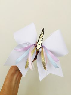 Unicorn Cheer Bow Golden Horn pastel colors Pretty!