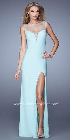 La Femme Shimmering Illusion Back Prom Gown