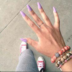 Matte Lavender Almond Shape Acrylic Nails