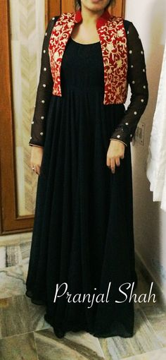 Black floor length with 10 mtr flair and red work koti