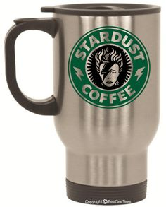 Stardust Coffee Travel Mug or Tea Cup by BeeGeeTees® Inspired By David Bowie (14 oz White or 14 oz Silver)