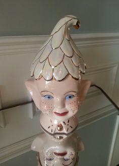 Vintage 1960s Pixie Elf Head Ceramic Cookie Jar, Holiday Cookie Jar, Christmas Elf