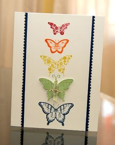 Stampin Products: Papillon Potpourri stamp set, Finishing Touches Edgelits, Bitty Buttons, Linen Thread, 1/8 Certainly Celery Taffeta Riboon Colors: Whisper White, Raspberry Ripple, Pumpkin Pie, Summer Starfruit, Gumball Green, Midnight Muse
