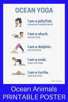 Ocean Yoga and Books by Giles Andreae (Printable Poster) - learn about ocean animals through yoga poses for kids! | Kids Yoga Stories