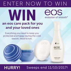 Win an eos care pack for you and your loved ones, with NEW Medicated Cooling Chamomile Lip Balms, plus Vanilla Orchid Body and Hand Lotions for Extra Dry Skin. Everything you need to keep you protected and happy during the cold season, head to toe