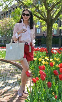 May 10, 2013 http://www.akeytothearmoire.com/post/50087047513/treasure-hunt #red #pink #white #white cuffs #pierced bag #Dolce & Gabbana #cardigan #pearls #preppy #classic #chic #shorts #ballerina flats #Georgetown #Ralph Lauren #Vera Bradley #Hipercor #El Corte Ingles #striped shirt