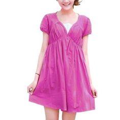 Allegra K Motherhood Pregnancy Square Neckline Ruffled Detail Front Loose Dress Magenta M Allegra K. $15.47