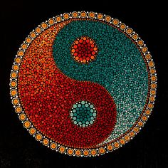 Ying Yang This is an image of my hand painted, acrylic on canvas, yin yang mandala design. Arte Yin Yang, Ying Y Yang, Yin Yang Art, Dot Art Painting, Pebble Painting, Pebble Art, Stone Painting, Mandala Art Lesson, Mandala Drawing