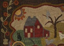 Antique Primitive Hand-Hooked Grenfell Style Rug Mat Homestead w Tulips Folk Art Rug Hooking Patterns, Rug Patterns, Hook Punch, Wooly Bully, Hand Hooked Rugs, Penny Rugs, Yarn Crafts, Sewing Crafts, Traditional Rugs