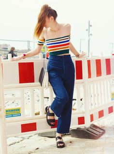 Cold shoulder: 2 holiday mood outfits for the end of summer - Spark and Bark  #rainbow #top #ubranoutfitters #denim #culottes #croptop #cropped #colourful #berlin #streetstyle #blogger #fashionblogger #german #fashion #sparkandbark