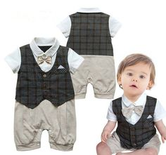 1pc Baby Boy Newborn Gentleman Bowknot Bodysuit Outfit Romper Clothes 0-18M