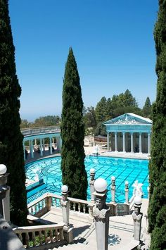 Pool of Neptune, Hearst Castle, San Simeon, CA Luxury Swimming Pools, Luxury Pools, Indoor Swimming Pools, Dream Pools, Swimming Pool Designs, Hurst Castle, Beautiful Homes, Beautiful Places, Dream Mansion
