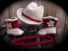 Cowboy or Cowgirl Hat and Boot Set / Made to by dcoycrochetsforyou, $55.00