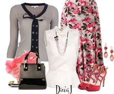 """Skirt Collection: Blossom Print"" by dimij ❤ liked on Polyvore"