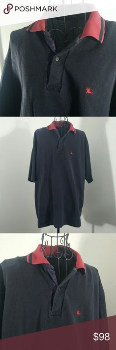 MENS BURBERRY POLO XXL BLACK BLACK RED COLLAR PLAID TRIM BURBERRY POLO SHIRT XXL ALITTLE FADED BUT NO BIG DEAL STILL LOOKS AMAZING MISSING TOP BUTTON BUT I LOVE IT SHOWS THE PLAID MORE Burberry Shirts Polos