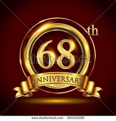 68th golden anniversary logo, sixty eight years birthday celebration with gold ring and golden ribbon.