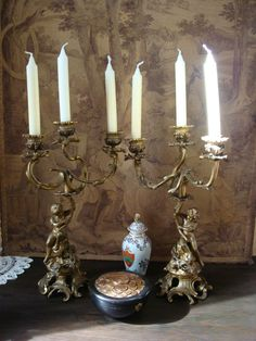 Kandelaber Leuchter Kerzenhalter Kerzenleuchter Bronze Bacchus Putti n. Clodion