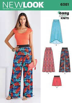 this easy just 4 knits bottoms pattern for miss includes maxi skirt, high low skirt, wide leg pants, and shorts. all are pull-on with elastic waistband. new look sewing pattern.
