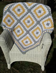 Grey Yellow Granny Square Baby Blanket by ThelmasGifts on Etsy
