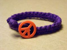 Orange Peace Sign Bracelet in Purple