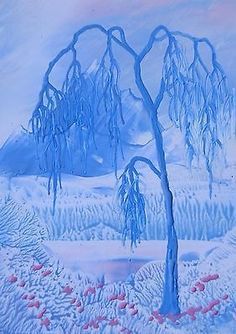 ORIGINAL ACEO encaustic art (beeswax) FANTASY LANDSCAPE painting BLUE WILLOW