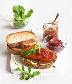 Minute steak sandwich with red wine vinegar onions