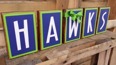 Seattle Seahawks HAWKS Blocks by BountifulCrafts on Etsy, $25.00