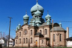 """ST THEODOSIUS RUSSIAN ORTHODOX CATHEDRAL - Starkweather Avenue, Cleveland, Ohio - Location  of """"The Deer Hunter"""" scene, the wedding of Steven and Angela (movie-locations.com)"""