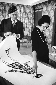 Diana Vreeland and Cecil Beaton look at a drawing, 1965. [Photo by James Karales]