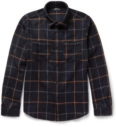 A.P.C.'s plaid overshirt is a versatile style for those tricky transitional days. This regular-fit piece is made from midnight-blue, brown and grey brushed wool-blend, giving it a soft, insulating feel. Wear this rustic design with a classic white tee and denim at the weekend.